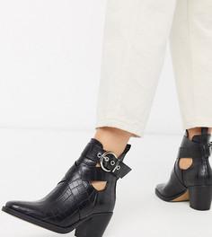 Черные ковбойские ботинки на каблуке с крокодиловым рисунком для широкой стопы Truffle Collection-Черный