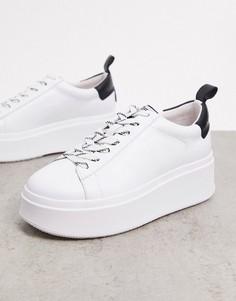 Белые кроссовки на платформе с черной вставкой на заднике Ash-Белый