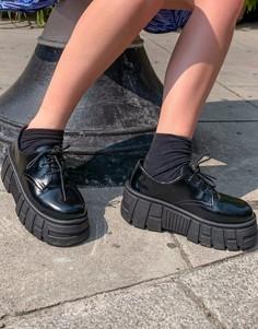 Черные туфли на массивной плоской подошве со шнуровкой ASOS DESIGN-Черный