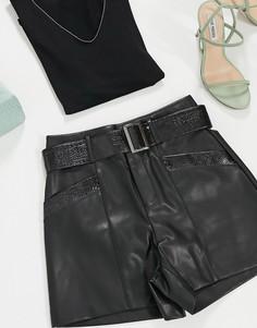 Черные шорты из искусственной кожи с контрастной отделкой Morgan-Черный