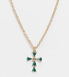 Золотистое ожерелье с изумрудными кристаллами ASOS DESIGN Curve-Золотой