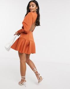 Платье мини рыжего цвета с длинными рукавами ASOS DESIGN-Оранжевый
