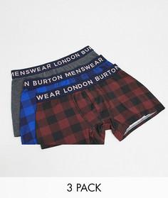 Набор из 3 боксеров-брифов в клетку Burton Menswear-Темно-синий