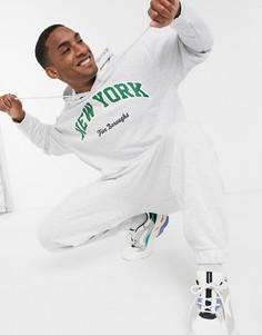 Спортивный костюм в стиле oversized с принтом ASOS DESIGN-Белый