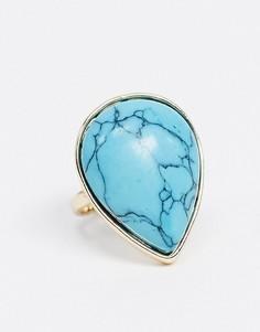 Золотистое кольцо с бирюзовым камнем Liars & Lovers-Золотой