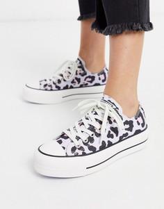 Кроссовки на платформе с леопардовым принтом Converse Chuck Taylor-Фиолетовый