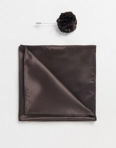 Булавка на лацкан пиджака с цветком и платок-паше Gianni Feraud-Коричневый