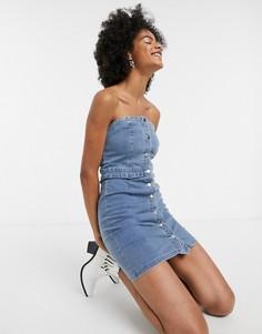 Джинсовое платье миди с пуговицами Emory Park-Синий