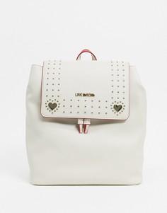 Черный рюкзак с заклепками Love Moschino-Кремовый