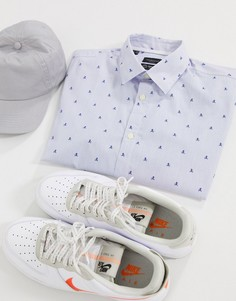Зауженная рубашка с короткими рукавами Selected Homme-Синий