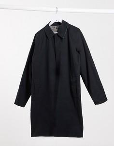 Двустороннее легкое пальто с узором в клетку ASOS DESIGN-Черный