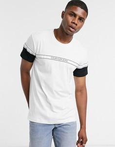 Белая футболка в стиле колор блок Calvin Klein Jeans-Белый