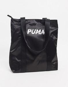 Черная/серебристая сумка-мешок Puma-Черный
