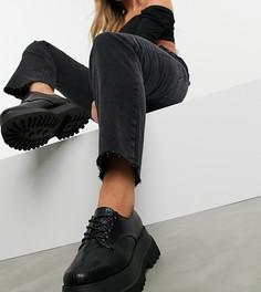 Черные туфли на массивной подошве для широкой стопы ASOS DESIGN-Черный
