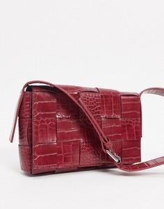 Бордовая плетеная сумка на плечо NA-KD-Красный
