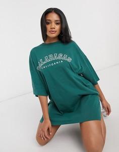 Шалфейно-зеленое платье-футболка с логотипом ASOS DESIGN-Зеленый