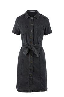 Серое джинсовое платье с застежкой на болты Zarina
