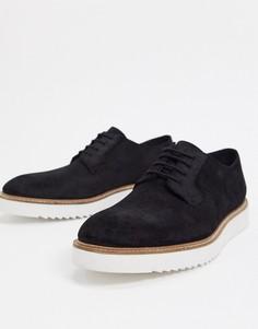 Черные кожаные туфли на шнуровке Clarks-Черный