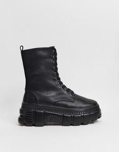 Черные ботинки на массивной подошве Public Desire-Черный