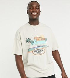 Бежевая свободная футболка с принтом и вышивкой ASOS DESIGN Tall-Бежевый