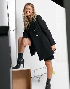 Черное свободное двубортное пальто Morgan-Черный