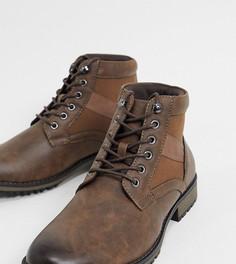 Коричневые ботинки из искусственной кожи на шнуровке для широкой стопы ASOS DESIGN-Коричневый