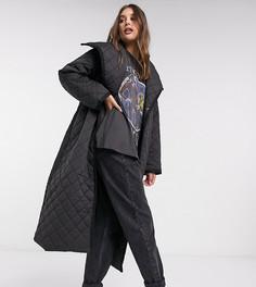 Черное стеганое пальто макси ASOS DESIGN Tall-Черный
