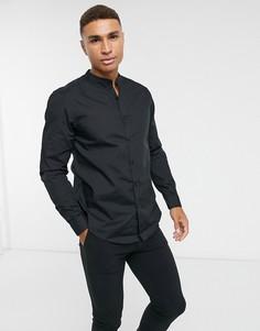 Черная рубашка из поплина с длинными рукавами New Look-Черный