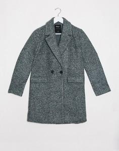 Зеленое пальто из шерстяной ткани букле Only-Зеленый