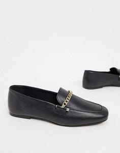 Черные кожаные лоферы с цепочками ASOS DESIGN-Черный