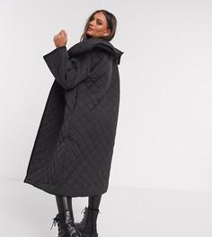 Черное стеганое пальто макси ASOS DESIGNPetite-Черный