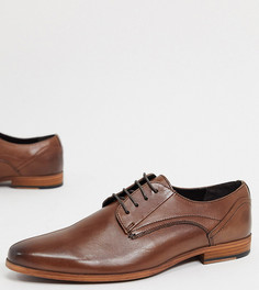 Коричневые кожаные туфли на шнуровке для широкой стопы с натуральной подошвой ASOS DESIGN-Коричневый