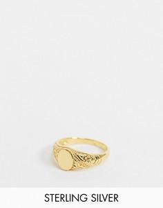 Серебряное кольцо-печатка с позолотой 14 карат ASOS DESIGN