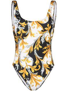 Versace купальник с высокими вырезами и принтом Baroque