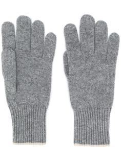 Brunello Cucinelli кашемировые перчатки с контрастной отделкой