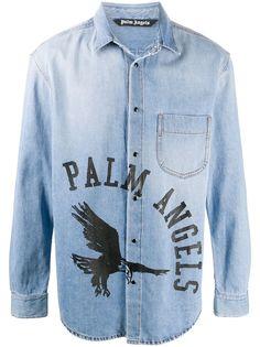 Palm Angels джинсовая рубашка с логотипом