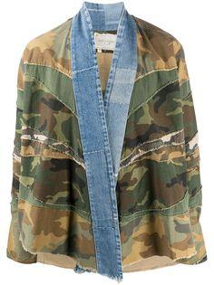 Greg Lauren камуфляжная куртка со вставками из денима