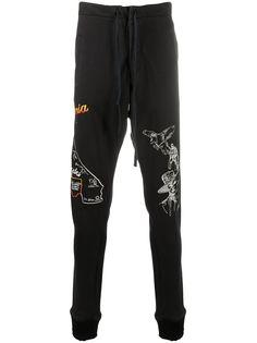 Greg Lauren зауженные спортивные брюки с вышитым логотипом