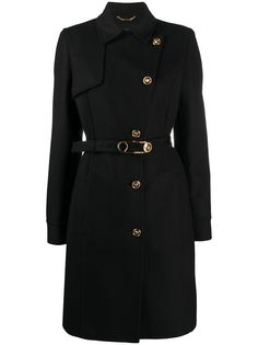 Versace пальто на пуговицах с декором Medusa и Safety Pin