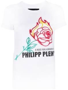 Philipp Plein футболка Neon Rose со стразами
