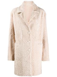 Drome однобортное пальто из овчины