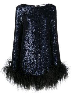 NERVI платье с перьями и пайетками