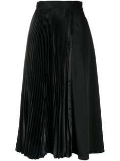 JW Anderson атласная юбка миди с плиссировкой