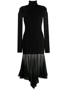 Mugler трикотажное платье с длинными рукавами