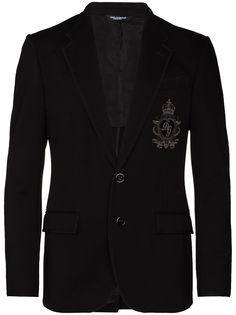 Dolce & Gabbana пиджак из джерси с нашивкой-логотипом