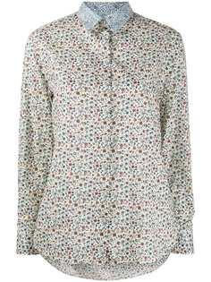 Paul Smith рубашка с контрастной вставкой и цветочным принтом