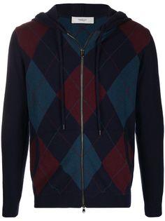 Pringle of Scotland свитер на молнии с узором аргайл вязки интарсия