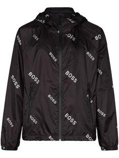 BOSS спортивная куртка Caslo с капюшоном и логотипом