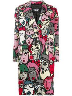 Boutique Moschino однобортное пальто с принтом