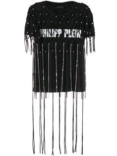 Philipp Plein декорированная футболка с бахромой